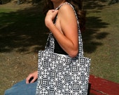 Black and White Water Resistant Tote-Style Purse