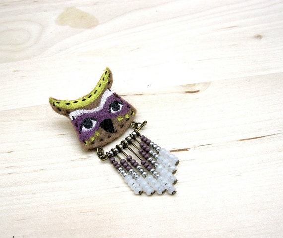 Owl Totem - Hand painted Chevron Seed Bead Pin
