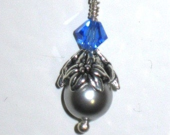 Silver Pearl Blue Crystal Dangle Earrings, Swarovski, SALE