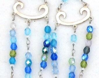 Blue Chandelier Art Deco Long Earrings, Czech Glass and Silver SALE