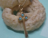 Gold filled turquoise key to your heart necklace