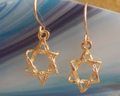 Goldfilled textured weaved delicate magen david star of David judaica jewelry earrings