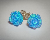 opal roses flowers silver stud post gorgeous earrings - perfect gift