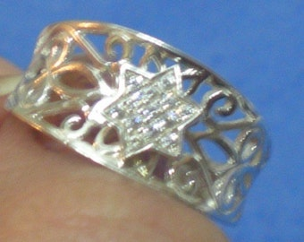 filigree lace sterling silver star of David zircons delicate ring
