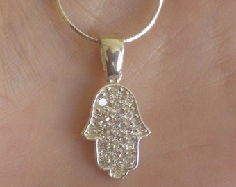 hand hamsa good luck protection silver zircons sparking necklace