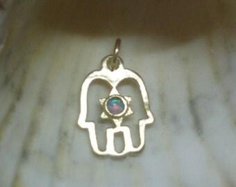 opal star of David magen david hand hamsa two symbols in one necklace