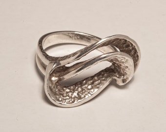 shell sea waves sterling silver sculptured textured artsy mod ring
