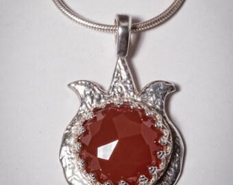 pomegranate carnelian necklace symbol of abundance and luck