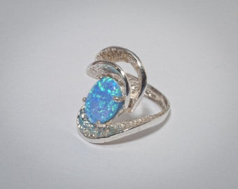 silver opal stone Spiral of Life amazing artistic modern ring