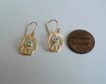 opal hand hamsa star of  David goldfilled earrings two great symbol in one