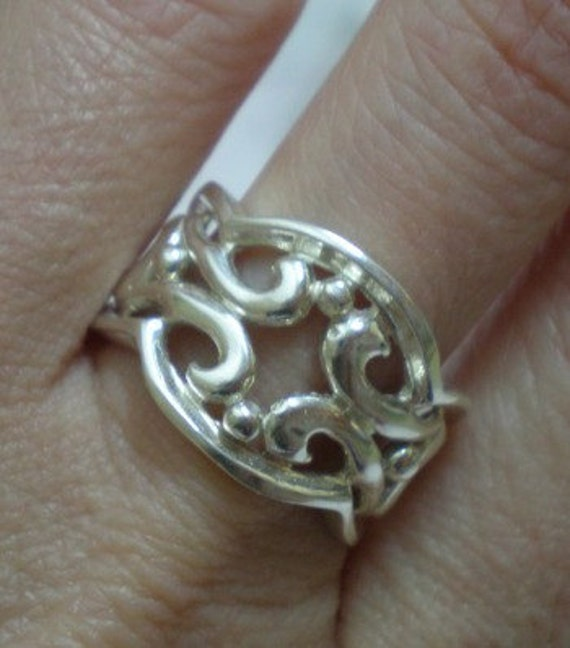 sterling silver filigree lace ring