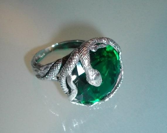 Reserved for Brooke emerald snake unique mod artsy groovy snake ring