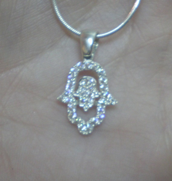 hand hamsa necklace -silver zircons 2 symbols luck and protection amazing necklace