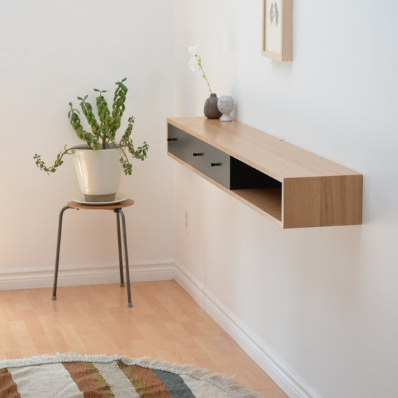 Floating console table white oak shelf for Floating console table ikea