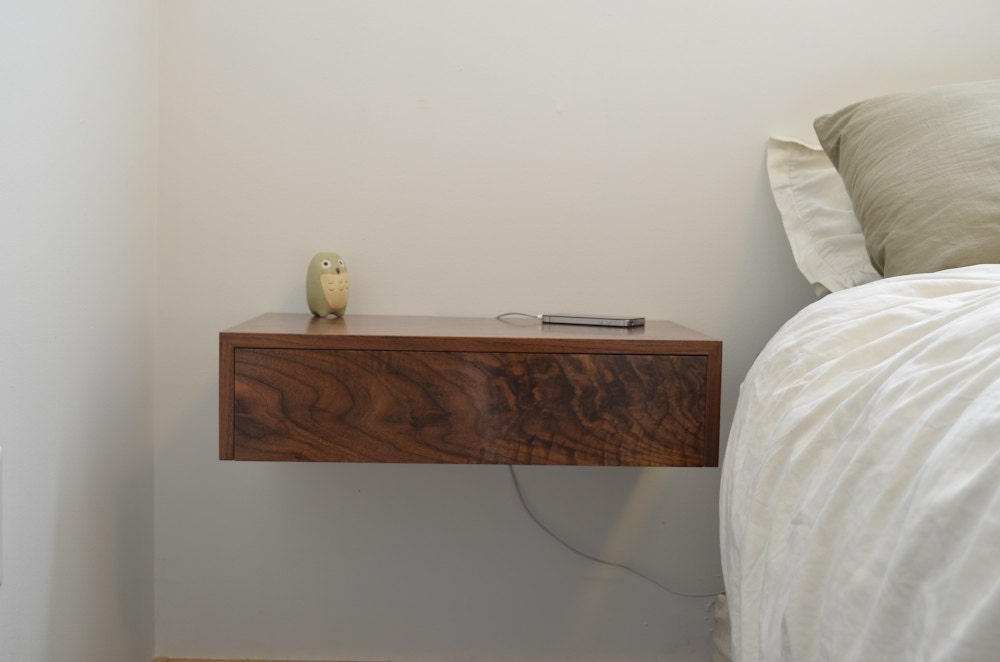 Floating Bedside Tables In Walnut Dovetailed Drawers