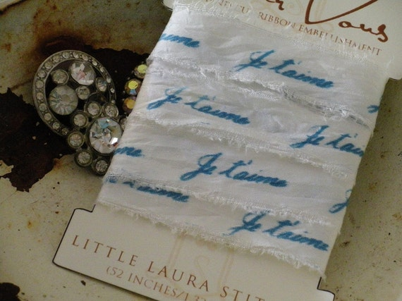 Creamy White Hand Cut SILK Ribbon French I Love YOU