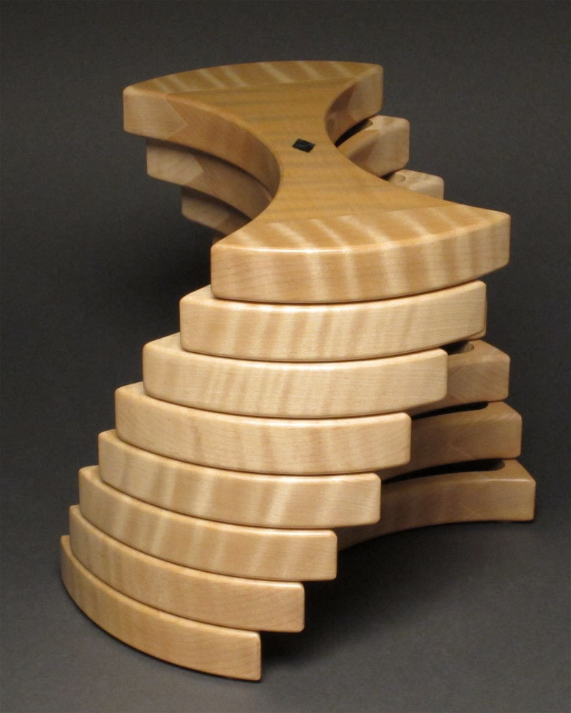 Curly Maple Jewelry Box With Secret Compartment Lined With