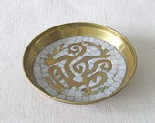 Salvador Teran Brass and Mosaic Tray from Mexico
