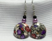 Multicolored Marcasite Coin Earrings
