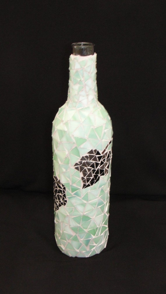Mosaic Wine Bottle Stained Glass Grape Vine Leaves Green Purple