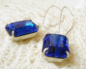 Sapphire Blue Faceted Jewel Earrings on Kidney Ear Wires