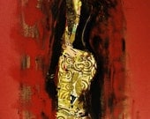 Klimt's Kiss Dress by Irish Artist Ros Webb. Large Original Painting and Collage by Ros Webb