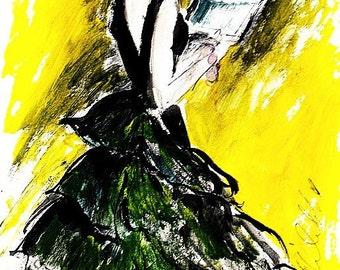 Black Silk Evening Gown , Fine Art Print By Ros Webb