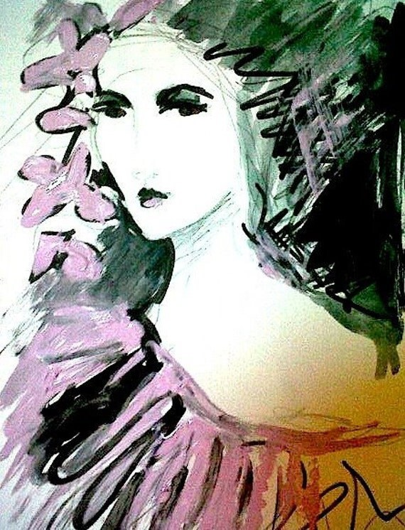 Pink Florence. Fashion Illustration/Figurative Art  by Ros Webb