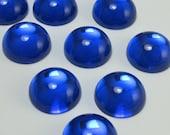 Blue Glass Cabochon 6 pcs 14mm Vintage Colbalt Stones S-243