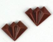 12 pcs 17x12mm brown Art Deco Fan Vintage Glass Stones cabochon S-135 last pack