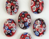 Vintage Glass Cabochons 6 pcs 25x18 Red Millefiori Stones S-300