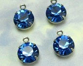 Blue Rhinestone drop 4 pcs 9 mm Crystal Bead Swarovski Crystal rhinestone setting One Loop D-8