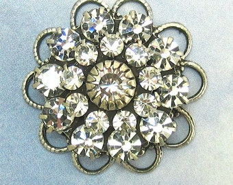 Crystal rhinestone flower Large Clear Crystal Swarovski antique silver filagree bead