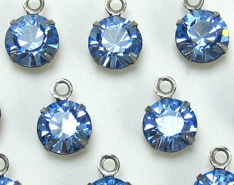 Light Blue Rhinestone drop 4 pcs 9 mm Swarovski Crystal Setting One Loop Finding D-13