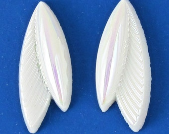 vintage glass cabochons 8 pcs 22x8mm  white ab S-161
