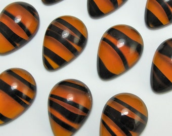 Vintage Glass Cabochons 6 pcs 18x13 mm Tortise Pear Stones S-83