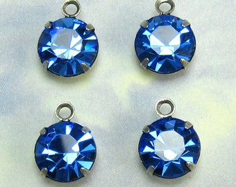 Blue Rhinestone drop Finding 4 pcs 9 mm Crystal Bead Swarovski Crystal setting One Loop D8