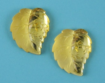 Vintage Glass Cabochon Yellow Leaf Rare Stones 6 pcs 17x14mm S-45-L