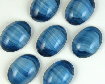 Vintage Glass Cabochons 6 pcs 18x13  Blue Stripe  Stones S-263 last bags