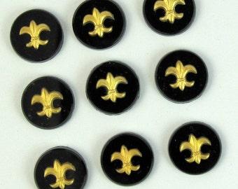6 pcs 11 mm Gold Fleur De Lis Black Vintage Glass Cabochon Stones S-70