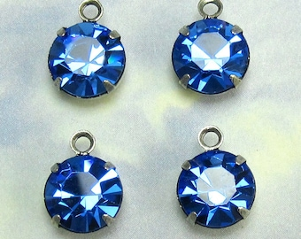 Blue Rhinestone drop Finding 4 pcs 9 mm Swarovski Crystal rhinestone setting One Loop D-8