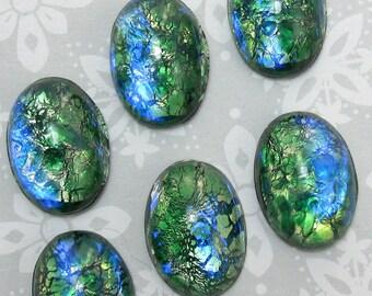 Green 18x13 cabochons Opal Vintage Glass Stones 2 pcs 18x13mm S-14