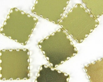 Square Cabochon Setting  pcs 12 pcs 18 mm Brass Lace Edge Settings M-42