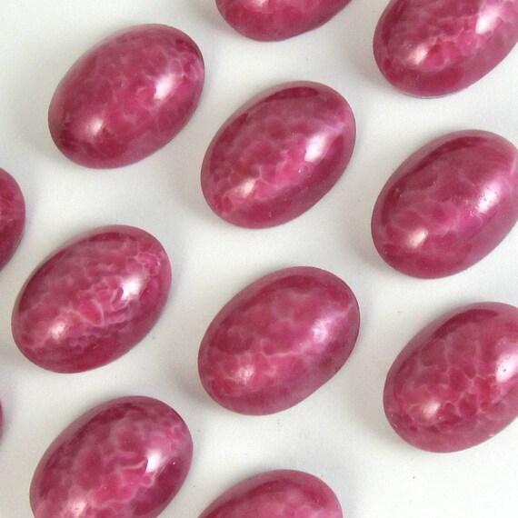 Vintage Glass Cabochons 4 pcs 14x10 Speckled Rose Pink Stones S-276 last bag