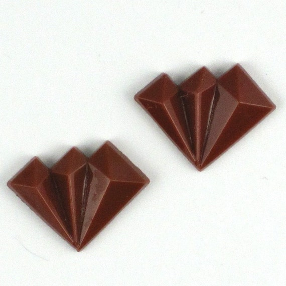 12 pcs 17x12mm brown Art Deco Fan Vintage Glass Stones cabochon S-135 last pack