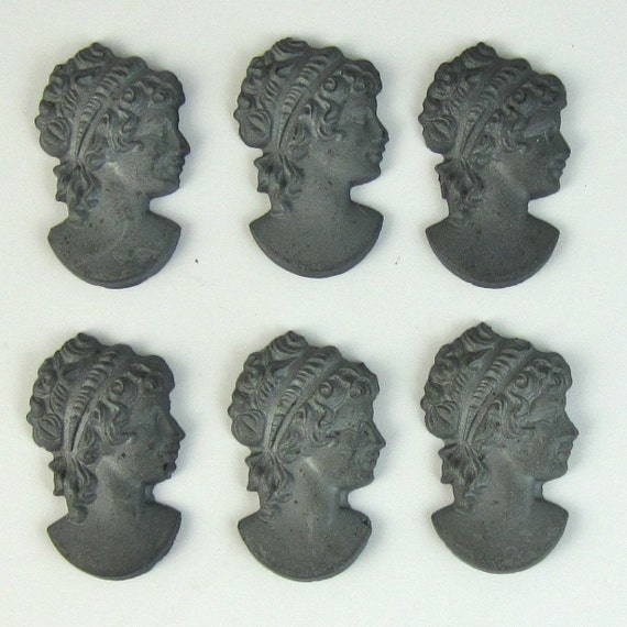 6 pcs 24x15 Profile Matte Hemitite Cameo Vintage Glass Cabochon and Pendant S-68-3