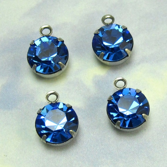 Blue Rhinestone drop Finding 4 pcs 9 mm Crystal Bead Swarovski Crystal rhinestone in antique silver setting One Loop
