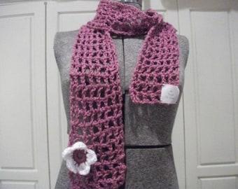 Handmade Crochet Flowered Scarf