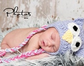 Crochet Colorful Owl Hat with Braids -  infant hat baby hat animal hat owl hat photography prop earflap hat