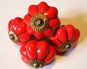 Set of 4 Vintage Red Ceramic Door Knobs